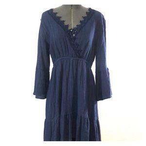 Bell Sleeve Dress w/Cutout Back and Crochet Trim